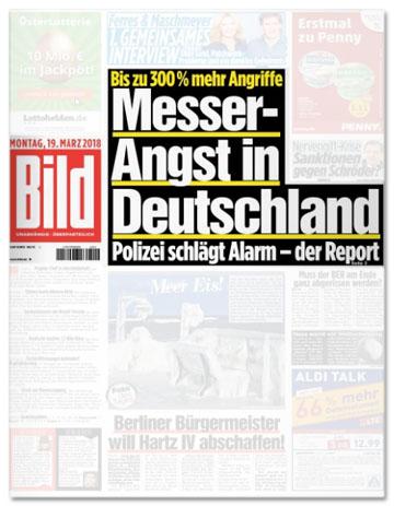 Ausriss Bild-Titelseite - Bis zu 300 Prozent mehr Angriffe - Messer-Angst in Deutschland - Polizei schlägt Alarm - der Report