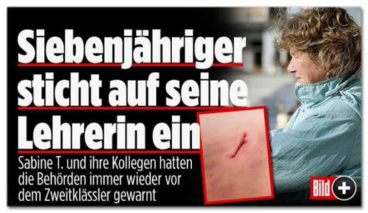 Screenshot Bild.de - Siebenjähriger sticht auf seine Lehrerin ein - Sabine T. und ihre Kollegen hatten die Behörden immer wieder vor dem Zweitklässler gewarnt
