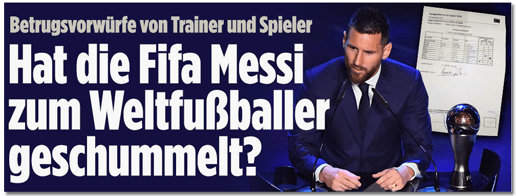 Screenshot Bild.de - Betrugsvorwürfe von Trainer und Spieler - Hat die FIFA Messi zum Weltfußballer geschummelt?