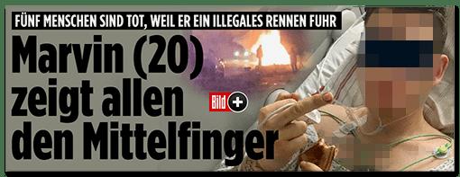 Screenshot Bild.de - Fünf Menschen sind tot, weil er ein illegales Rennen fuhr - Marvin zeigt allen den Mittelfinger