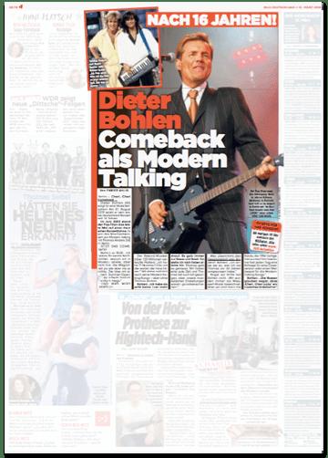 Ausriss Bild-Zeitung - Nach 16 Jahren! Dieter Bohlen - Comeback als Modern Talking