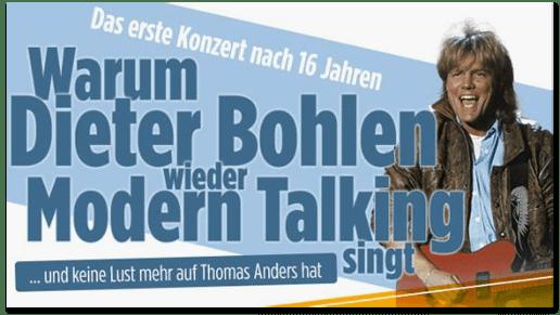 Screenshot Bild.de - Das erste Konzert nach 16 Jahren - Warum Dieter Bohlen wieder Modern Talking singt und keine Lust mehr auf Thomas Anders hat