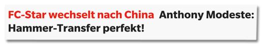 Ausriss Express.de - FC-Star wechselt nach China - Anthony Modeste: Hammer-Transfer perfekt!