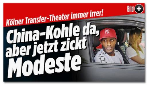 Ausriss Bild.de - Kölner Transfer-Theater immer irrer! China-Kohle da, aber jetzt zickt Modeste