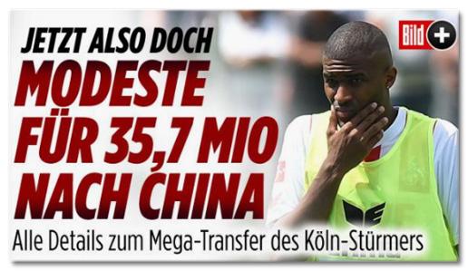 Ausriss Bild.de - Jetzt also doch - Modeste für 35,7 Mio nach China
