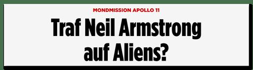 Screenshot BILD.de: Traf Neil Armstrong auf Aliens?