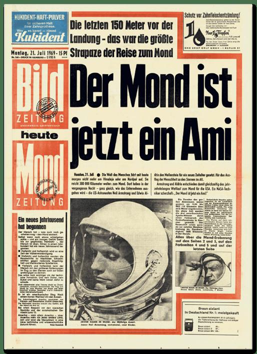 BILD-Ausgabe vom 21. Juli 1969: Der Mond ist jetzt ein Ami
