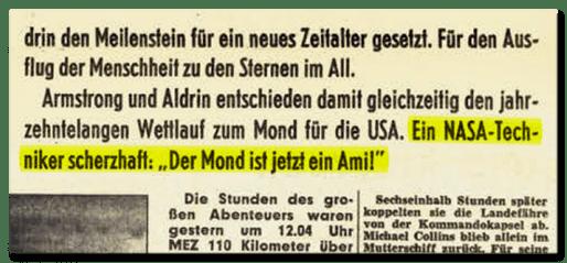 """Textausriss aus der BILD-Ausgabe von 1969: Armstrong und Aldrin entschieden damit gleichzeitig den jahrzehntelangen Wettlauf zum Mond für die USA. Ein NASA-Techniker scherzhaft: """"Der Mond ist jetzt ein Ami!"""""""