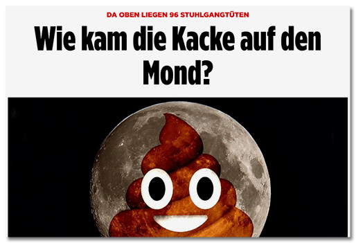 Screenshot BILD.de: Da oben liegen 96 Stuhlgangtüten - Wie kam die Kacke auf den Mond?