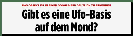 Screenshot BILD.de: Gibt es eine Ufo-Basis auf dem Mond?