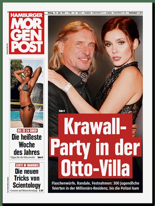 Große Titelschlagzeile der Hamburger Morgenpost: Krawall-Party in der Otto-Villa - Flaschenwürfe, Randale, Festnahmen: 300 Jugendliche feierten in der Millionärs-Residenz, bis die Polizei kam
