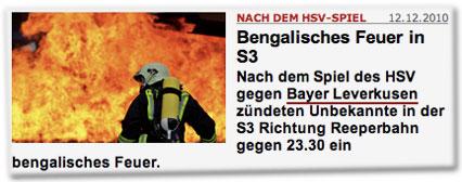 Nach dem HSV-Spiel: Bengalisches Feuer in S3. Nach dem Spiel des HSV gegen Bayer Leverkusen zündeten Unbekannte in der S3 Richtung Reeperbahn gegen 23.30 ein bengalisches Feuer.