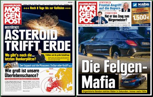 Ausriss Titelseite Hamburger Morgenpost von gestern - Die Felgen-Mafia - Organisierte Banden stehlen Räder in Sekunden. Immer mehr Fälle
