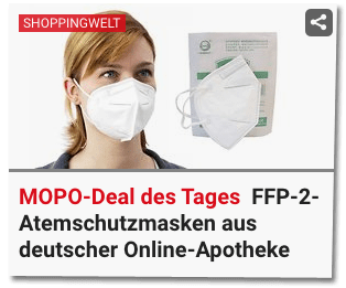 Screenshot Mopo.de - Shoppingwelt - Mopo-Deal des Tages - FFP-2-Atemschutzmasken aus deutscher Online-Apotheke