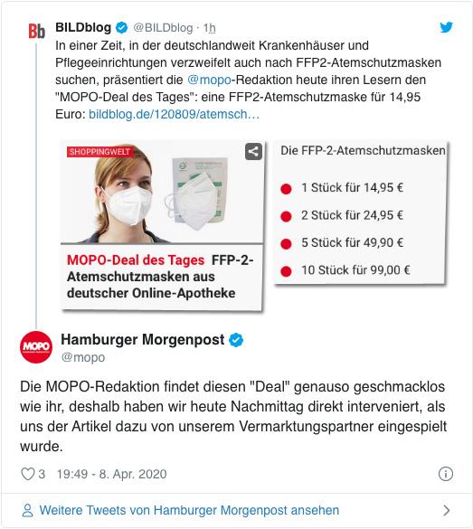 Screenshot eines Tweets der Mopo-Redaktion - Die Mopo-Redaktion findet diesen Deal genauso geschmacklos wie ihr, deshalb haben wir heute Nachmittag direkt interveniert, als uns der Artikel dazu von unserem Vermarktungspartner eingespielt wurde.
