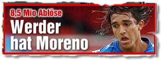 8,5 Mio Ablöse: Werder hat Marcelo Moreno