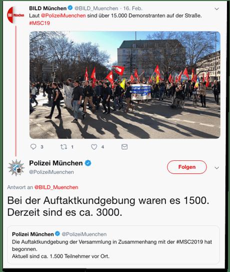 Screenshot eines Tweets der Polizei München - Bei der Auftaktkundgebung waren es 1500. Derzeit sind es circa 3000.