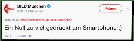Screenshot eines Tweets der Bild-München-Redaktion - Ein Null zu viel gedrückt am Smartphone