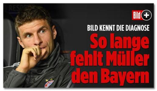 Screenshot Bild.de - Bild kennt die Diagnose - So lange fehlt Müller den Bayern