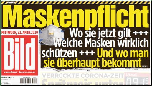 Ausriss Bild-Titelseite - Maskenpflicht - Wo sie jetzt gilt - Welche Masken wirklich schützen - Und wo man sie überhaupt bekommt