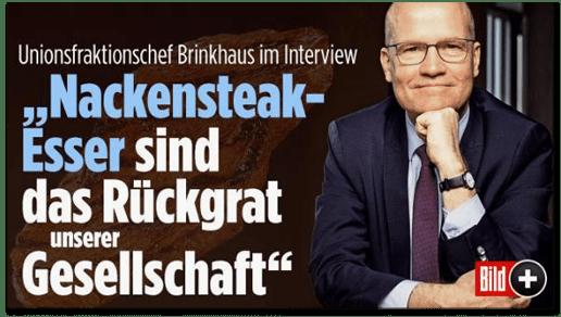 Screenshot Bild.de - Unionsfraktionschef Brinkhaus im Interview - Nackensteak-Esser sind das Rückgrat unserer Gesellschaft