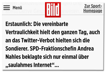 Screenshot Bild.de - Erstaunlich: Die vereinbarte Vertraulichkeit hielt den ganzen Tag, auch an das Twitter-Verbot hielten sich die Sondierer. SPD-Fraktionschefin Andreas Nahles beklagte sich nur einmal über saulahmes Internet