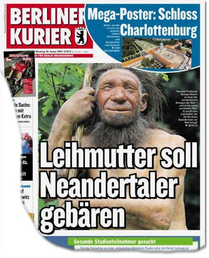 Leihmutter soll Neanderthaler gebären