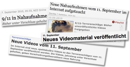 Screenshots: NZZ.ch, yahoo.de, FAZ.net, spiegel.de, focus.de
