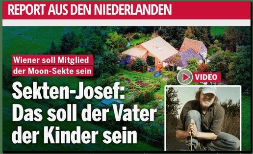 Screenshot oe24.at - Report aus den Niederlanden - Wiener soll Mitglied der Moon-Sekte sein - Sekten-Josef: Das soll der Vater der Kinder sein - Dazu ist ein Foto eines Mannes mit Mütze zu sehen, der in der Natur kniet einen kleinen Stock zwischen den Händen hält. Sein Gesicht ist verpixelt