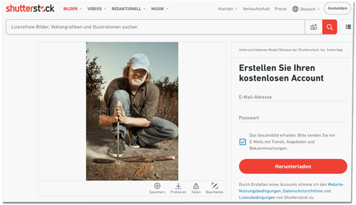 Screenshot der Seite Shutterstock, einem Portal, das Stockfotos anbietet. Die Caption zu dem Foto: Man in hat trying to make a fire with wood stick friction