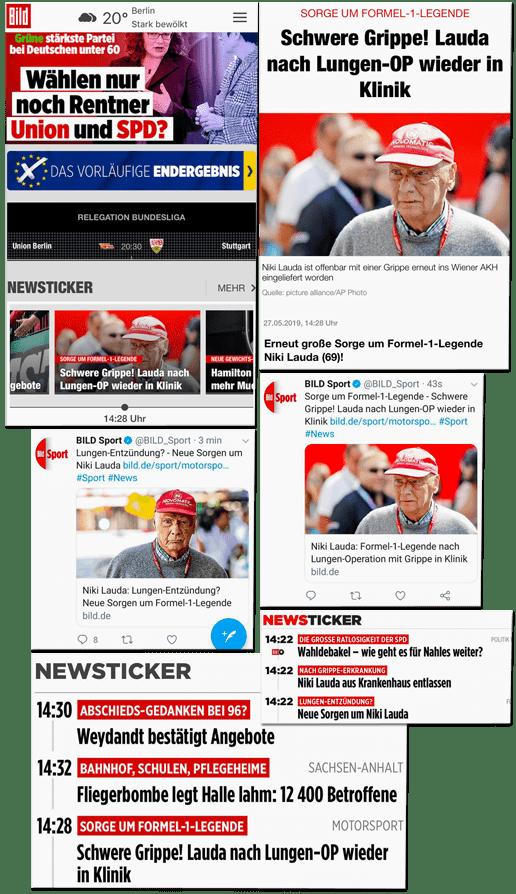 Screenshot-Collage mit Überschriften wie Schwere Grippe! Lauda nach Lungen-OP wieder in Klinik - Lungen-Entzündung? Neue Sorgen um Niki Lauda - Niki Lauda aus Krankenhaus entlassen