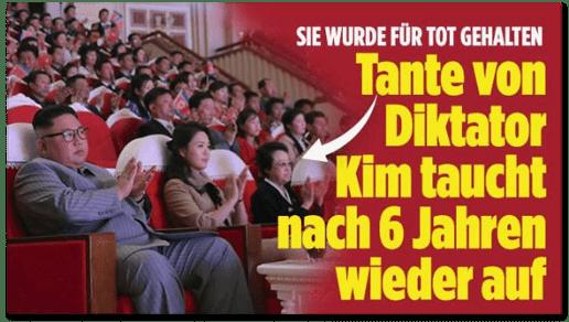 Screenshot Bild.de - Sie wurde für tot gehalten - Tante von Diktator Kim taucht nach sechs Jahren wieder auf