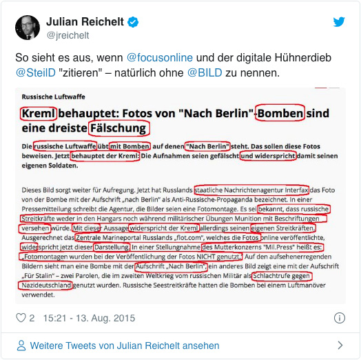 Screenshot eines Tweets von Julian Reichelt - So sieht es aus, wenn Focuso nline und der digitale Hühnerdieb Daniel Steil
