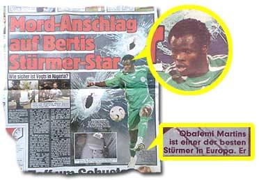 """Mord-Anschlag auf Bertis Stürmer-Star"""