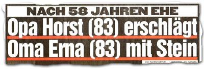 """""""Nach 58 Jahren Ehe: Opa Horst (83) erschlägt Oma Erna (83) mit Stein"""""""