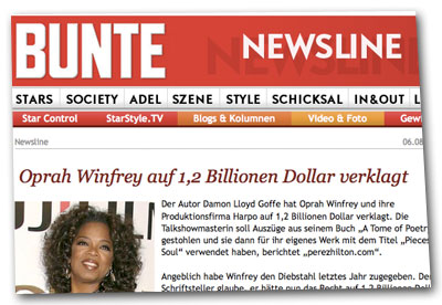 Oprah Winfrey auf 1,2 Billionen Dollar verklagt