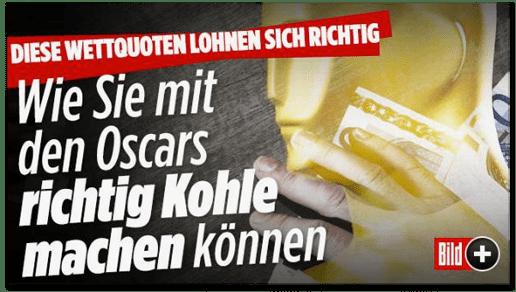 Screenshot Bild.de - Diese Wettquoten lohnen sich richtig - Wie Sie mit den Oscars richtig Kohle machen können