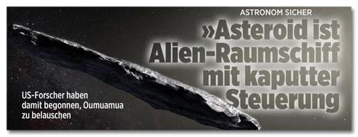 Screenshot Bild.de - Astronom sicher - Asteroid ist Alien-Raumschiff mit kaputter Steuerung
