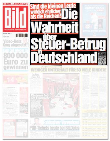 Ausriss Bild-Zeitung - Sind die kleinen Leute wirklich ehrlicher als die Reichen? Die Wahrheit über Steuer-Betrug in Deutschland