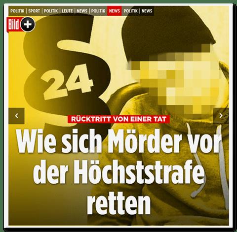 Screenshot Bild.de - Wie sich Mörder vor der Höchststrafe retten