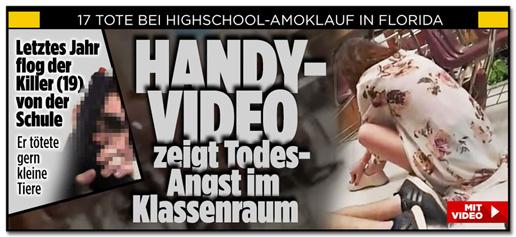 Screenshot der Bild.de-Startseite, auf der Fotos des Amokschützen zu sehen sind, darunter auch ein Foto, auf dem er mit einer Pistole posiert