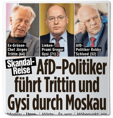 Ausriss Bild-Zeitung - Skandal-Reise - AfD-Politiker führt Trittin und Gysi durch Moskau