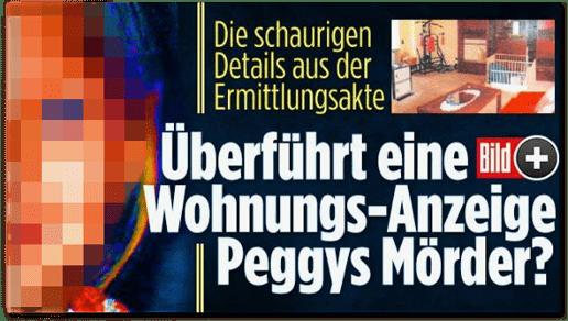 Screenshot Bild.de - Die schaurigen Details aus der Ermittlungsakte - Überführt eine Wohnungs-Anzeige Peggys Mörder?