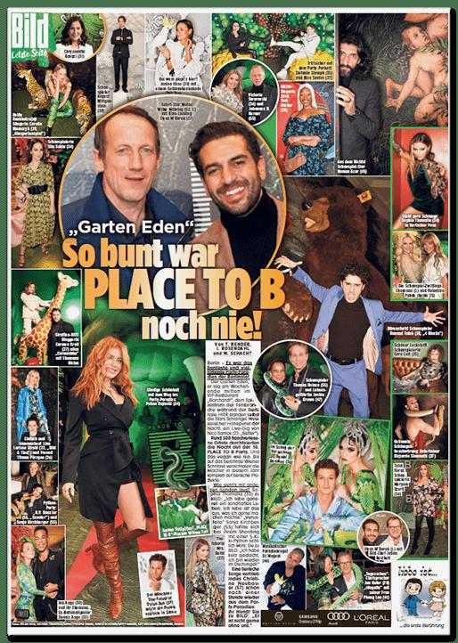 Letzte Seite der Bild-Zeitung gefüllt mit Fotos von der Place-to-B-Party. Überschrift: So bunt war PLACE TO B noch nie!