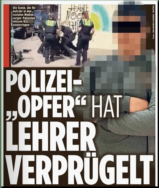 Ausriss Bild-Zeitung - Polizei-Opfer hat Lehrer verprügelt - das Wort Opfer ist in Anführungszeichen geschrieben