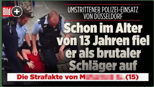 Screenshot Bild.de - Umstrittener Polizeieinsatz von Düsseldorf - Schon im Alter von 13 Jahren fiel er als brutaler Schläger auf - Die Strafakte von M. (15)