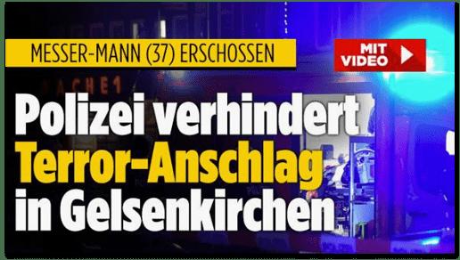 Screenshot Bild.de - Messer-Mann (37) erschossen - Polizei verhindert Terror-Anschlag in Gelsenkirchen