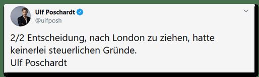 Tweet von Ulf Poschardt: 2/2 Entscheidung, nach London zu ziehen, hatte keinerlei steuerlichen Gründe. Ulf Poschardt
