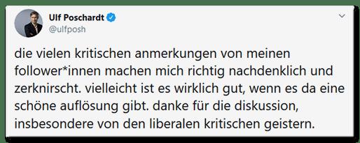 Tweet von Ulf Poschardt: Ulf Poschardt @ulfposh die vielen kritischen anmerkungen von meinen follower*innen machen mich richtig nachdenklich und zerknirscht. vielleicht ist es wirklich gut, wenn es da eine schöne auflösung gibt. danke für die diskussion, insbesondere von den liberalen kritischen geistern.