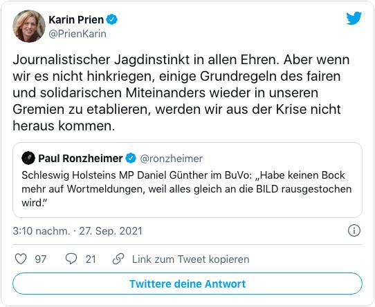 Screenshot eines Tweets von Karin Prien - Journalistischer Jagdinstinkt in allen Ehren. Aber wenn wir es nicht hinkriegen, einige Grundregeln des fairen und solidarischen Miteinanders wieder in unseren Gremien zu etablieren, werden wir aus der Krise nicht heraus kommen.